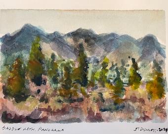 Incl Original Watercolor Sketch An Oasis in Old Nevada 5 x 7 Mat /& Mount