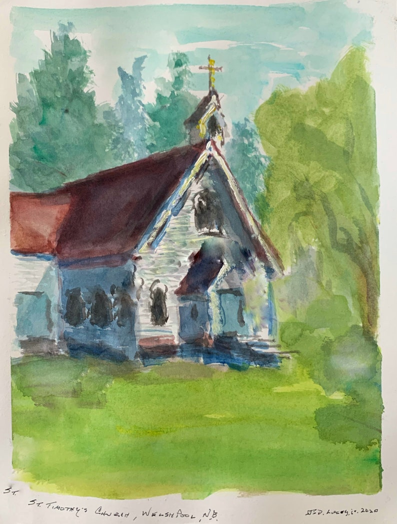 Welshpool Mat /& Mount 9 x 12 St Timothy\u2019s Church N.B Original Watercolor Sketch Incl
