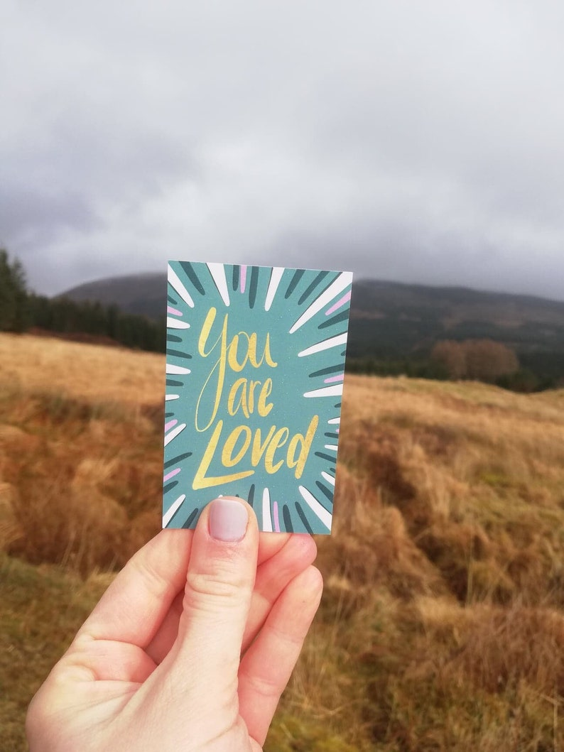 You are loved set of 10 encouragement cards. Small thick and image 0