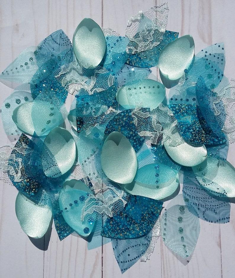 AQUA MARINE BLUE SILK ROSE PETALS FLOWER TABLE DECORATION CONFETTI WEDDING PARTY