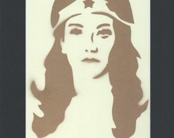 Wonder Woman Stencil Art - Original - Gold