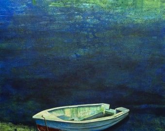 Old Boat On The Lakeside – contemporary painting, modern art, canvas painting, art, high quality, limited edition art prints