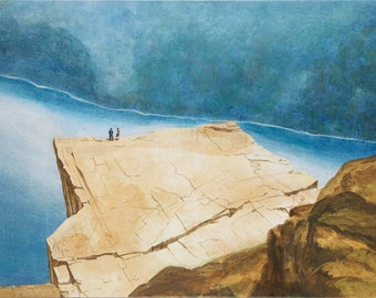 On Prekestolen in Norway – contemporary painting, modern art, canvas painting, art, high quality, limited edition art prints