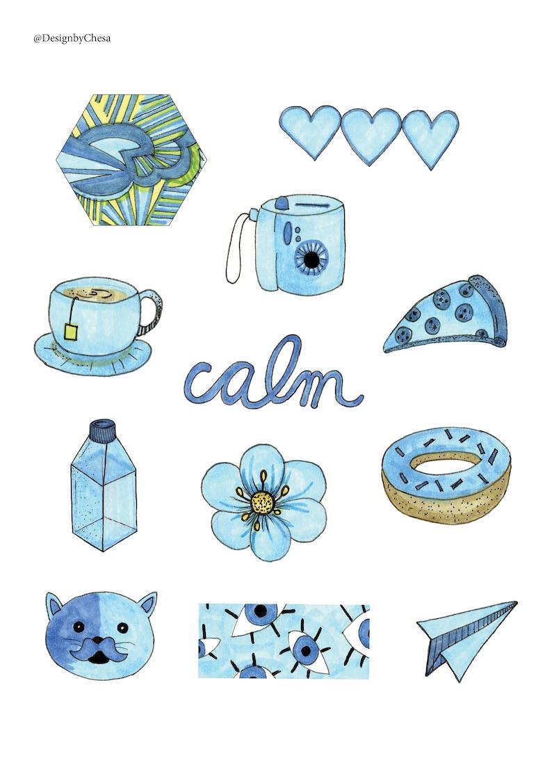 Blue aesthetic sticker pack | Etsy