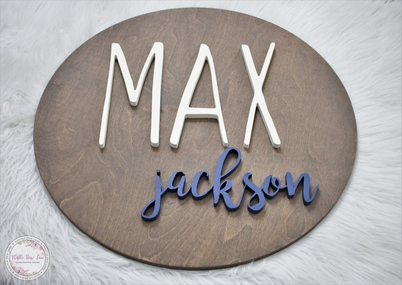 Baby Gift New Baby Baby Shower Gift Round Name Sign 3D Nursery Name Sign Custom Name Sign Wood cutout Nursery decor Kids room decor