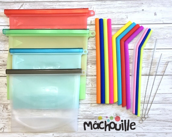 Ensemble de sacs et de pailles réutilisables en silicone