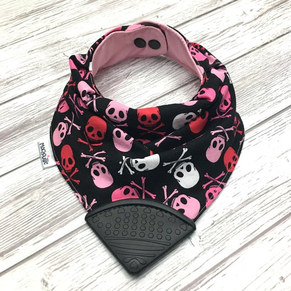 Bandana bib with teether, silicone teething corner, baby chew bib, baby teething bib, silicone bandana bib, baby shower gift, machouille