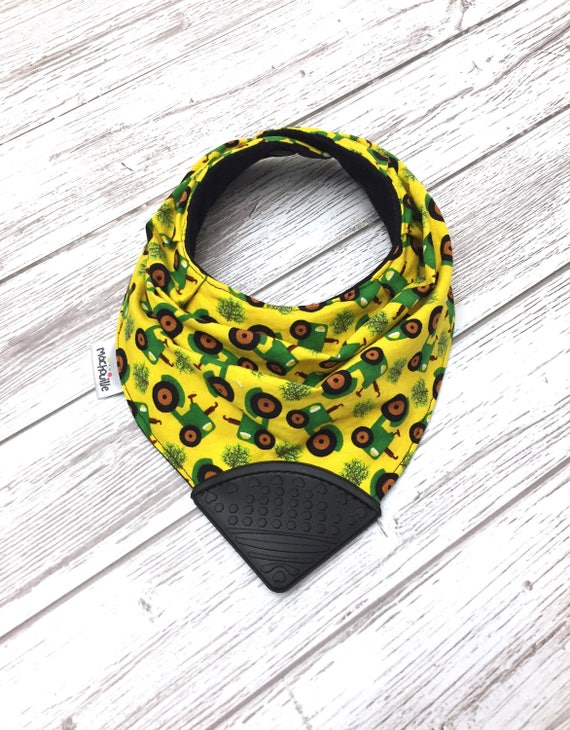 Baby bandana bib, silicone chew bib, baby teething bib, silicone teething corner, bib with teether, baby shower gift, Machouille