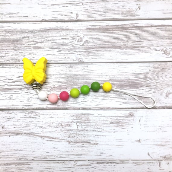 Silicone pacifier holder, teething pacifier holder, silicone teething toy, pacifier chain, food grade silicone, brown raccoon, Mâchouille