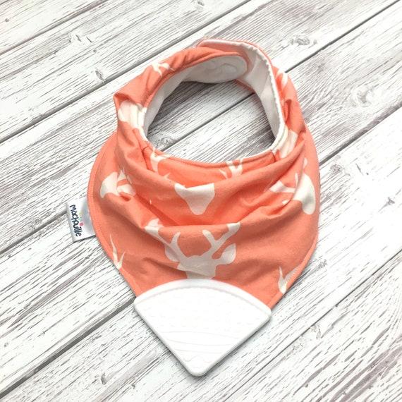 Baby bandana bib, food grade silicone, silicone chewelry, baby teething bib, baby accessory, buck, pink, coral, white, shower, Machouille