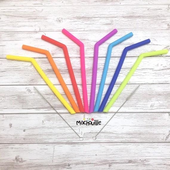 Grosses pailles réutilisables en silicone courbées
