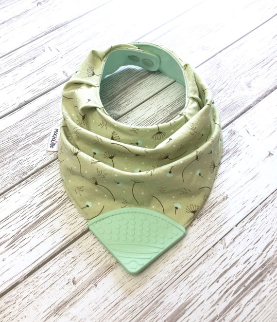 Bandana bib with teether, teething bib silicone, baby chew bib, bib with teether, silicone teething corner, baby shower gift, Machouille