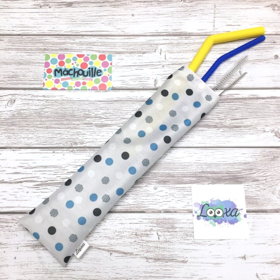 Mâchouille set of reusable silicone straws with Looxa case