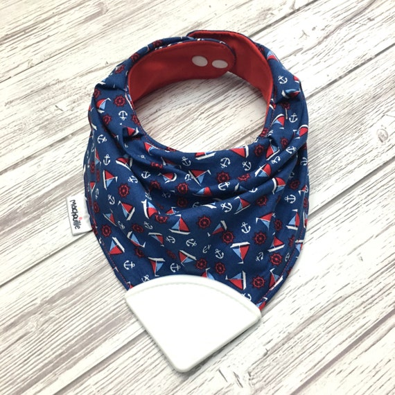Bandana bib with teether, teething bib silicone, teether silicone baby, silicone teething corner, baby shower, blue, navy, boat, machouille