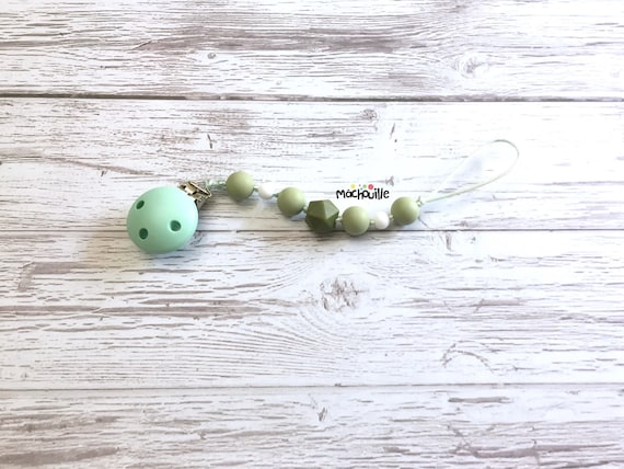 Baby pacifier holder, silicone pacifier chain, food grade silicone, silicone chew toy, baby safe, custom product, shower, Mâchouille