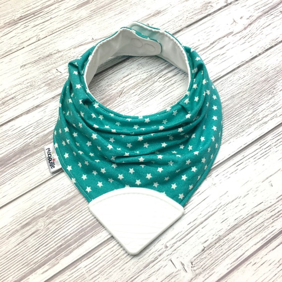 Bandana bib with teether, teething bib silicone, teether silicone baby, silicone teething corner, turquoise, teal, white star,  Machouille