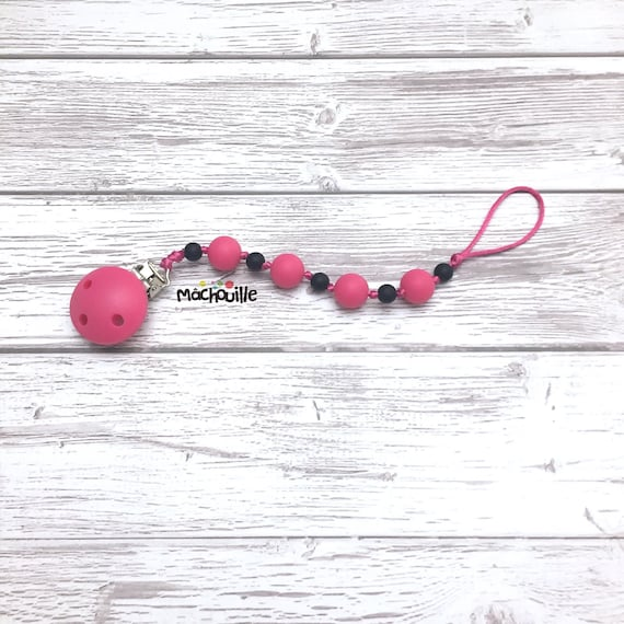 Silicone pacifier holder, food grade silicone, silicone pacifier chain, silicone teething toy, baby safe, custom pacifier holder, Machouille