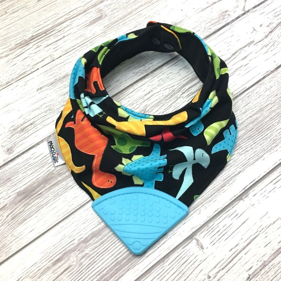 Silicone teething bib, silicone chew bib, baby teething bib, silicone teething corner, baby bib silicone teether, dinosaure, Machouille