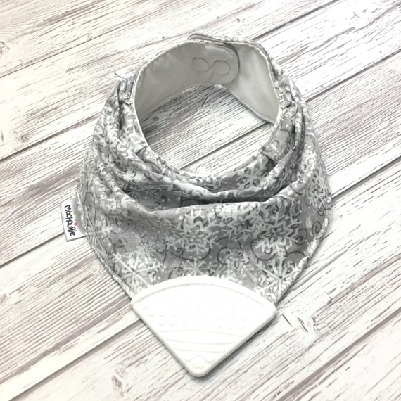 Bandana bib with teether, teething bib silicone, teether silicone baby, silicone teething corner, baby shower, white, grey, machouille