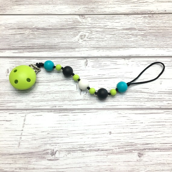 Baby pacifier holder, silicone pacifier chain, teething pacifier clip, silicone teether holder, food grade silicone, green, teal, Mâchouille