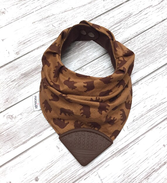 Teething bandana bib, silicone teething bib, silicone chew bib, silicone teething corner, food-grade silicone, bear, brown, Machouille