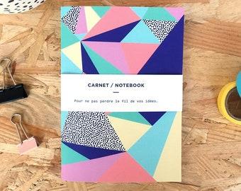 "Notebook geometric patterns ""Babel"", Office Organization, Handmade in France"