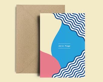 """Postcard summer - Decoration card + Kraft envelope - """"Jolie Plage"""" - Stationery"""