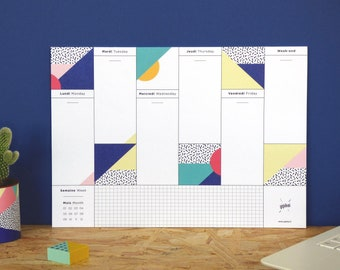 """Weekly Desk Planner with graphic patterns """"Viva"""" - A4 Format"""