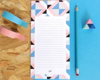 Memo pad geometric art, desk pad pastel colors, office gift