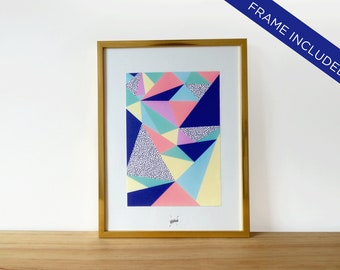 Framed print, wall decor, home decor, gold finish frame, art print geometric abstract, colorful poster with frame included