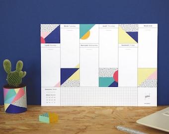 """Semainier à motifs graphiques - Weekly Desk Planner """"Viva"""" - A4 format"""