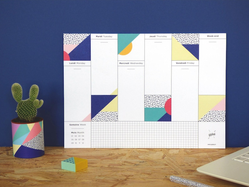 Weekly Desk Planner with graphic patterns Viva  image 0