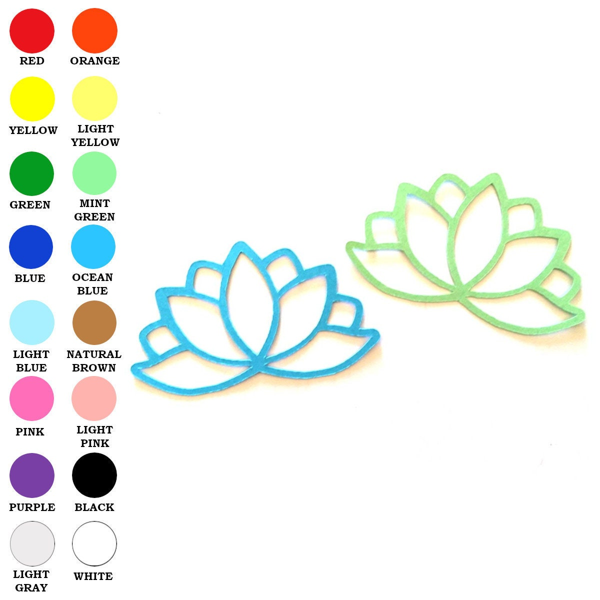 25 Pack Paper Lotus Flower Shape Lotus Flower Die Cuts Etsy