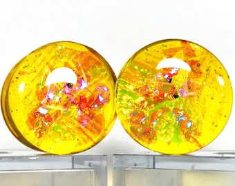 Yellow Plugs, Sparkle Plugs, Ear Plugs Pair, Double Flare Plugs, Plugs and Tunnels, Ear Weights, Resin Plugs, Dichroic Plugs, Tunnels
