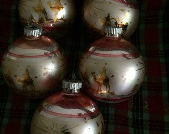 Antique Shiny Brite Glass Christmas Ornaments