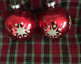Pair Of Vintage Shiny Brite Glass Christmas Ornaments