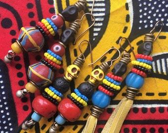 Tribal earrings, Gipsy, Ethnic, Hippie, Nomad