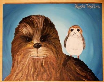 Chewbacca <3 Porgs Original Painting