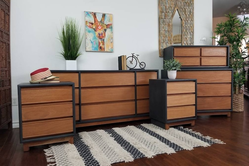 Vintage Kroehler Mid Century Modern Bedroom Set Dresser Chest Etsy