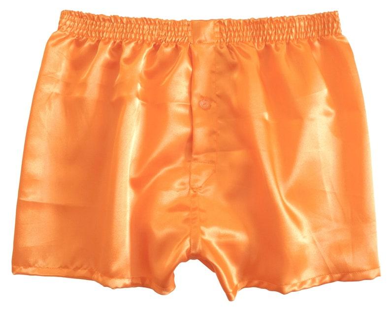 Pumpkin orange satin boxers  bright orange boxer shorts  image 0