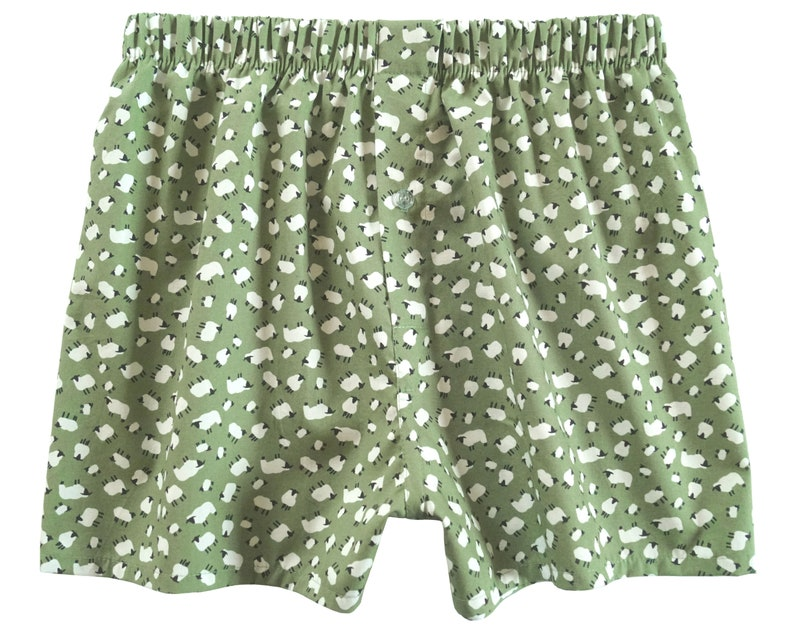 Grazing sheep boxers small medium mens boxer shorts fathers day gift sage green underwear for him