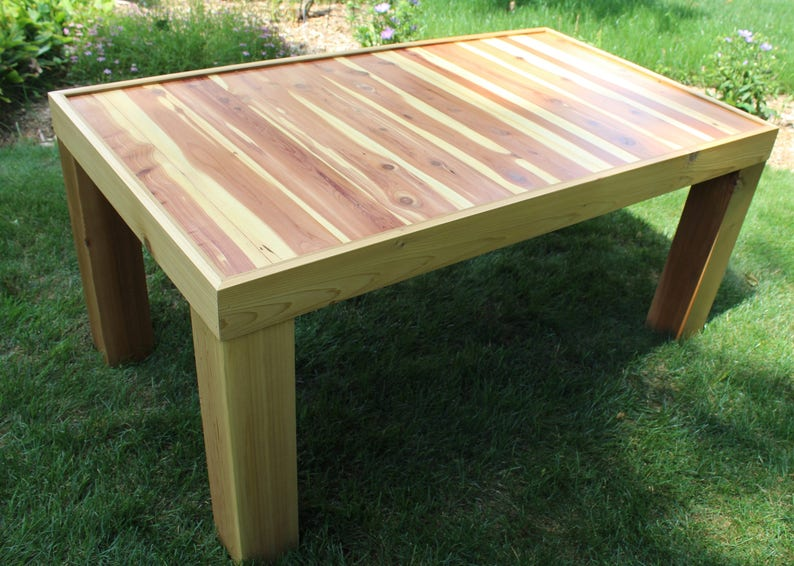 Pleasant Outdoor Cedar Coffee Table Outdoor Patio Table Sundeck Deck Table Sunroom Accent Table Cedar Table Cabin Outdoor Lakehouse Rustic Porch Download Free Architecture Designs Boapuretrmadebymaigaardcom