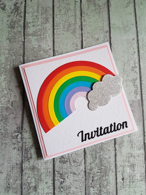 Pack Of 10 Handmade Rainbow Party Invitations Birthday Invitation Invite