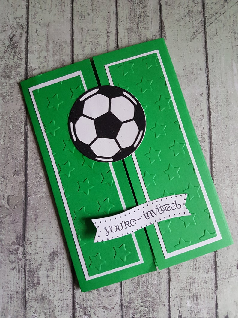 Pack Of 10 Handmade Gatefold Football Party Invitations