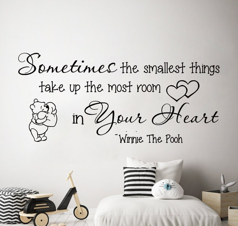 Winnie The Pooh Wall Decal Quote Wall Decal Pooh Art Nursery Wall Decal Winnie the Pooh Stickers Baby Decor Kids Room Wall Art SL215