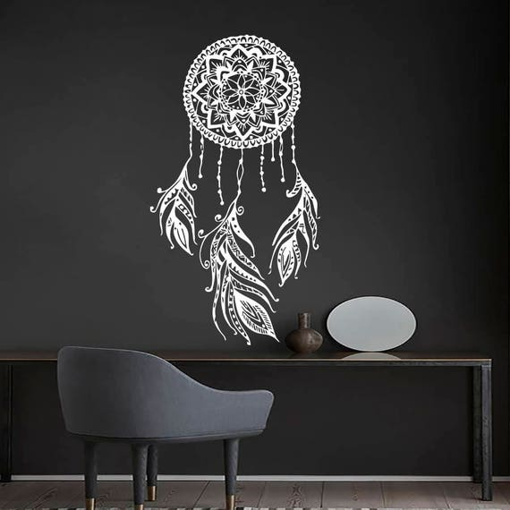 dream catcher wall decal boho dreamcatcher art feather decor | etsy