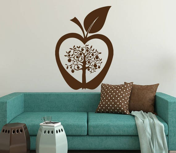 tree wall decals apple tree wall decal apple wall art nature | etsy