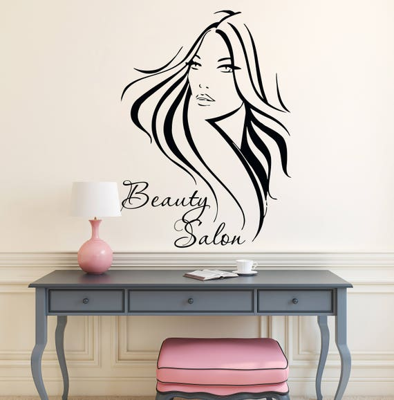 Beauty Salon Wall Decal Hair Wall Decals Vinyl Stickers Girl   Etsy