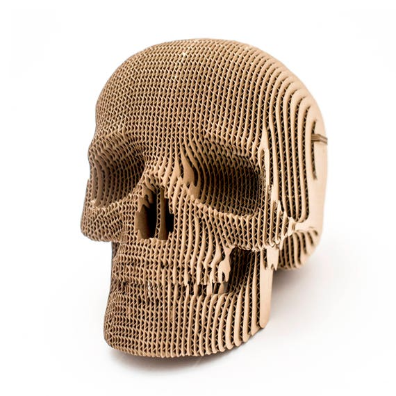 Jack Cardboard Skull 3d Puzzle Diy Kit Paper Recycled Etsy
