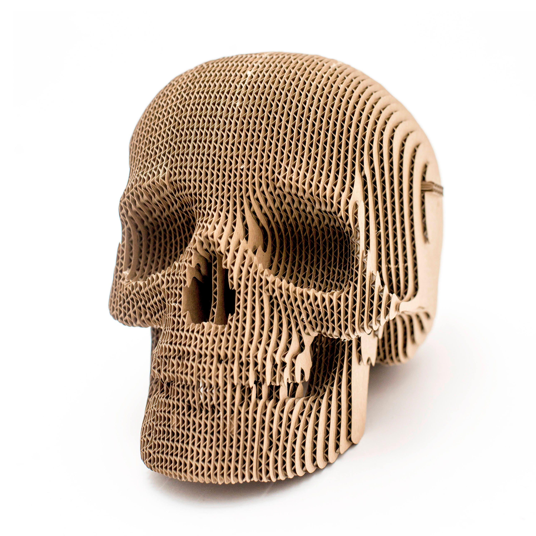 Jack Cardboard Skull 3d Puzzle Diy Kit Paper Recycled Etsy